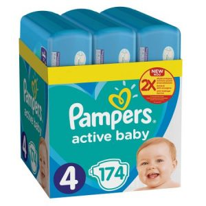 Scutece Pampers Active Baby XXL BOX 4 Maxi 174 buc